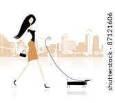 Girl With Dog Walking In The...
