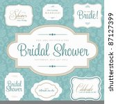 vector bridal shower frame set. ... | Shutterstock .eps vector #87127399