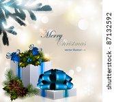 vector christmas composition on ... | Shutterstock .eps vector #87132592