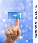 woman hand pressing like button | Shutterstock . vector #87137446