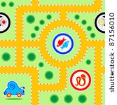 Seamless kids snail-car road pattern with funny signs - stock vector