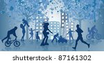 people walk and go in for... | Shutterstock .eps vector #87161302