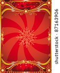 red christmas poster. A new christmas background with a big top for a poster. read your message ! - stock photo
