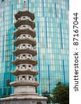 chinese pagoda against a front...