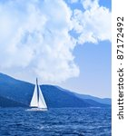 Sailboat At Open Sea  Beautifu...