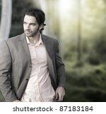 portrait of elegant man in suit ... | Shutterstock . vector #87183184