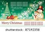 christmas background with balls ... | Shutterstock .eps vector #87192358