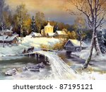 Rural Landscape  Oil On A Canvas