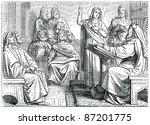 old engravings. depicted saint