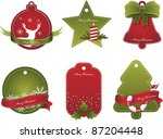 set of vector christmas red and ... | Shutterstock .eps vector #87204448