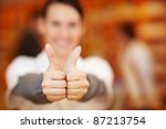 happy pharmacist holding two... | Shutterstock . vector #87213754