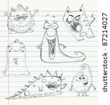 Vector Monster Doodles On A...