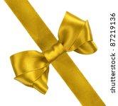 yellow gift satin ribbon bow on ... | Shutterstock . vector #87219136