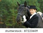 Horsewoman Jockey In Uniform...