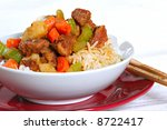 stewed pork over rice - Chinese Dish - stock photo
