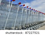 Shopping Carts In A Row Against ...