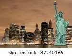 manhattan skyline and the... | Shutterstock . vector #87240166