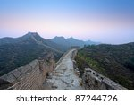 the great wall of china in dawn - stock photo