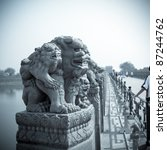 chinese marco polo bridge of the stone lion statue - stock photo