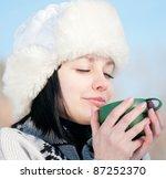 teenage girl in winter hat with ... | Shutterstock . vector #87252370