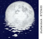 beautiful full moon under ocean | Shutterstock . vector #8725633