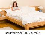 bedroom   young woman read book ...   Shutterstock . vector #87256960