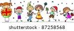 cartoon christmas children | Shutterstock .eps vector #87258568