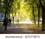 autumn morning city alley and...   Shutterstock . vector #87277873