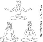 beautiful girls sitting in yoga ... | Shutterstock .eps vector #87287596