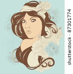 beautiful exotic woman with... | Shutterstock .eps vector #87301774