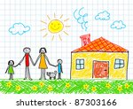 drawing of family | Shutterstock .eps vector #87303166