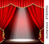 theater stage  with red curtain.... | Shutterstock .eps vector #87303961