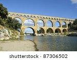 Roman aquaduct Pont du Gard, France. This bridge is an Unesco World Heritage site. - stock photo