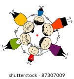 happy family together  frame... | Shutterstock .eps vector #87307009