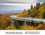 Blue Ridge Parkway Autumn Linn Cove Viaduct Fall Foliage Mountains bridge at Grandfather Mountain Western North Carolina - stock photo
