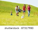 excited parents with kids... | Shutterstock . vector #87317980