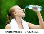young woman drinking water... | Shutterstock . vector #87325261