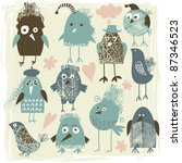 collection of droll birds   Shutterstock .eps vector #87346523