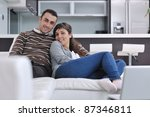 happy young couple relax at... | Shutterstock . vector #87346811