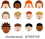 face icon set   group of face... | Shutterstock . vector #87359729