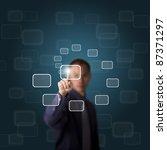 business man push a touch... | Shutterstock . vector #87371297