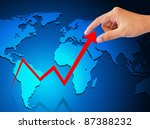 business hand graph success and growth - stock photo