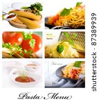 Pasta, wine and spice collage shot suitable for restaurant menu - stock photo