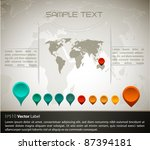 world map with set of gps... | Shutterstock .eps vector #87394181