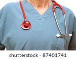 A closeup shot of a healthcare professional and her stethoscope. - stock photo