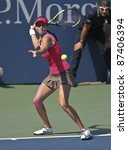 NEW YORK - SEPTEMBER 02: Julia Goerges of Germany returns ball during 3rd round match against Shuai Peng of China at US Open on September 02, 2011 in New York City. - stock photo