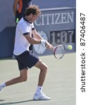 NEW YORK - SEPTEMBER 02: Robin Haase of the Netherlands returns ball during 2nd round match against Andy Murray of Scotland  at USTA Billie Jean King National Tennis Center on September 02 2011 in NYC - stock photo