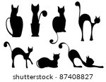 Seven Cats In Different...