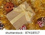 elegant golden christmas gift... | Shutterstock . vector #87418517