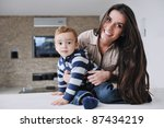 portrait of a happy mom and son ... | Shutterstock . vector #87434219